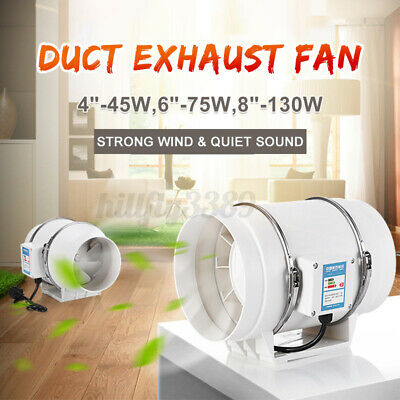 AU35.89 • Buy 4/6/8  Silent Fan Extractor Duct Hydroponic Inline Exhaust Industrial Vent AU