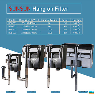 AU21.90 • Buy Sunsun 300L/H 400L/H 500L/H 600L/H Aquarium Fish Tank Hang On Filter