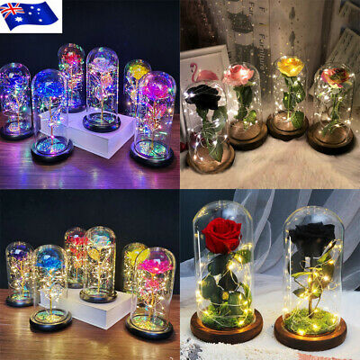 AU14.99 • Buy LED Light Enchanted Rose In Glass Dome Valentine's Day Gift Home Decoration