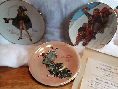 $ CDN19.40 • Buy 3- Vintage Norman Rockwell Winter/ Christmas Collector Plates