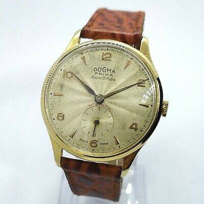 $ CDN303.29 • Buy Vintage Dogma Prima Ancre 15 Rubis Gold Plated Watch Men's Swiss Made 36mm