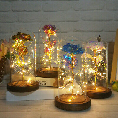 AU27.81 • Buy Glass Dome Rose Decoration Valentine's Day Gift Christmas LED Rose Light Flower