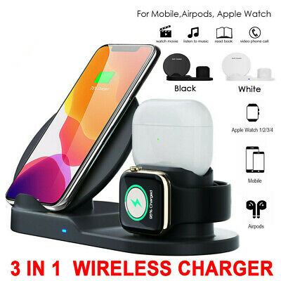 AU25.95 • Buy 3 In 1 QI Wireless Charger Dock Charging For Apple Watch IPhone 12/11 Pro Airpod