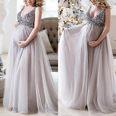 AU28.02 • Buy Pregnant Womens Sequins Ball Gowns Sleeveless Maternity Photography Comfy Dress