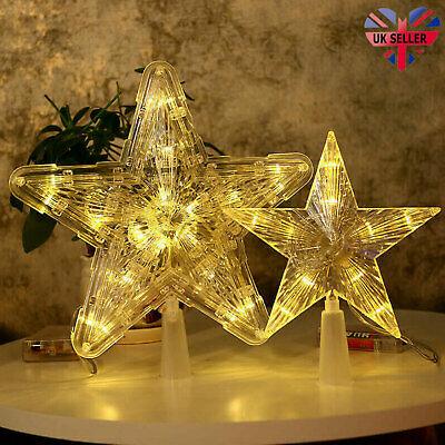 Xmas Ornament Christmas Tree Topper LED Light Up Star Tree Home Party Decor UK • 6.30£