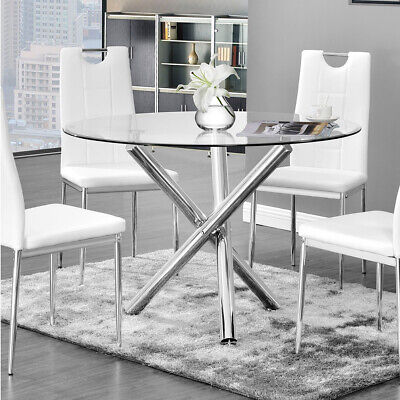 ROUND Glass/Chrome Legs DINING TABLE AND LEATHER CHAIRS Kitchen 2-4Seater Bistro • 92.95£