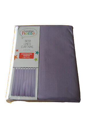 """GEORGE HOME LILAC PURPLE TAB TOP LINED BEDROOM CURTAINS 66"""" X 54"""" GIRLS BNIW NEW • 12.71£"""
