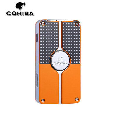 COHIBA Windproof Classic 3 Torch Jet Flame Metal Cigar Lighter Refillable Punch • 20.99£