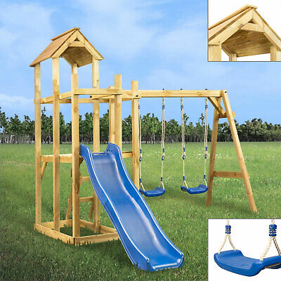 Outdoor Garden Playhouse With Slide Swing Ladder Wooden Tower Children Playing • 413.06£