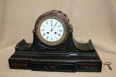 Very Large Impressive Antique French Slate And Rouge Marble Striking Clock • 185£