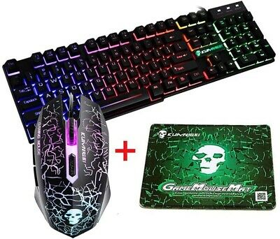 AU27.99 • Buy PC Laptop LED Gaming Keyboard And Mouse Set Wired USB Combo Bundles For PS4 Xbox