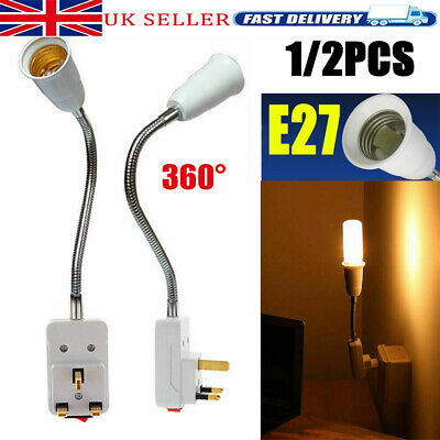 2pcs E27 Screw UK Plug In Light Bulb Base E27 Lamp Switch Socket Holder • 7.24£