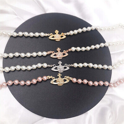 Saturn Pearl Necklaces Crystal Pendant Choker Women Charm Jewelry Necklace • 5.49£