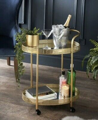 £72.99 • Buy Art Deco Glamour Oval Gold Finished Drinks Trolley With 2 Mirrored Shelves