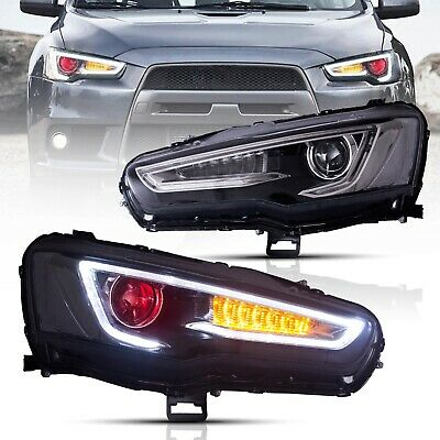 AU569.99 • Buy Customized Upgraded Led All Black Headlights With Demon Eyes For 08-17 Lancer