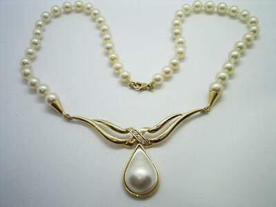 $683.40 • Buy Fine 18ct Gold Diamond Cultured Saltwater Akoya Pearl & Mabe Pearl Drop Necklace