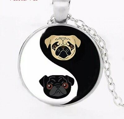 £4.99 • Buy Yin And Yang Pug Dog Necklace Glass Dome Pendant Womens Jewellery Gift
