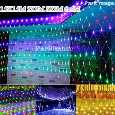 LED String Net Lights Curtain Garden Christmas Outdoor Tree Party Holiday Decor • 10.40£