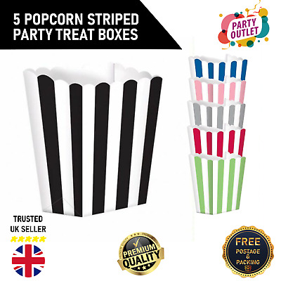 5 Popcorn Striped Party Treat Boxes For Birthday's And Special Occasions • 2.99£