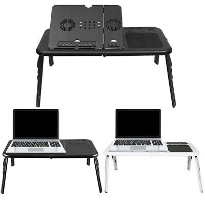 Adjustable Folding Laptop Stand Bed Table Lap Tray Desk With Cooling Fan USB • 15.95£