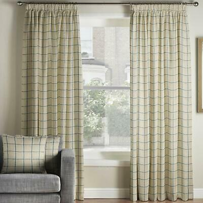 Navy Tape Top Curtains Burchill Check Ready Made Lined Pencil Pleat Curtain Pair • 102.99£