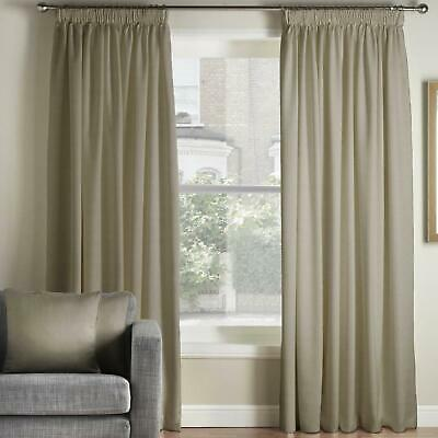 £116.99 • Buy Taupe Tape Top Curtains Vogue Chenille Ready Made Pencil Pleat Curtain Pairs