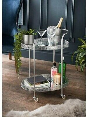 £69.99 • Buy Deco Glamour Drinks Trolley Silver With 2 Mirrored Shelves Art Deco Theme