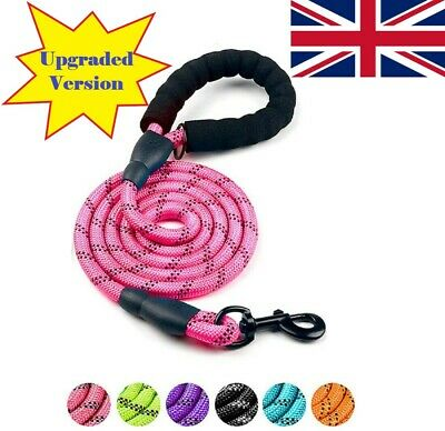 £6.95 • Buy 5FT Leash Braided Rope Pet Dog Leads Strong Reflective Soft For M/Large Dog Walk