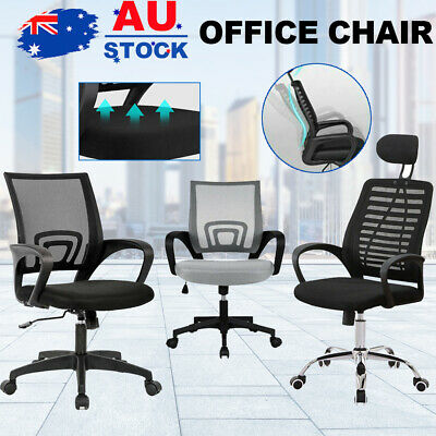 AU48.90 • Buy Black Office Chair Gaming Computer Chairs Mesh Back Executive Seating Study Seat