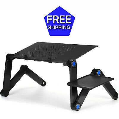 Adjustable Laptop Stand Desk Notebook Lap Tray Fan Cooling Pad Riser Foldable • 75.94£