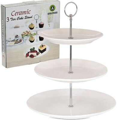 £11.99 • Buy 3 Layer Tier Ceramic White Round Serving Display Cakes Platter Food Stand Rack