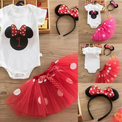 AU25.36 • Buy Baby Girl First 1st Birthday Party Outfit Dress Cute Skirt Sets With Headband AU
