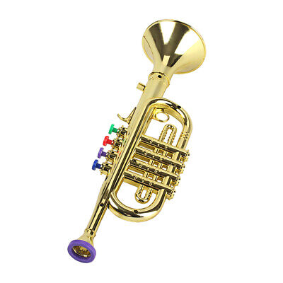14 1/2 Inch Plastic Toy Trumpet For Kids With 4 Colored Keys - Musical Wind • 11.58£