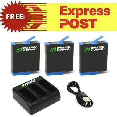 AU28.95 • Buy Wasabi Power Battery And/or Dual/Triple Charger Kit For GoPro HERO8 7 6 5 4 3+ 3