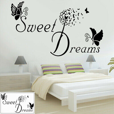 Wall Stickers Butterfly LOVE Quote SWEET DREAMS Bedroom Removable Decals DIY • 3.72£