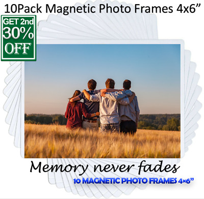 AU16.65 • Buy Magnetic Picture Photos Frame Fridge Holds 10Pcs Inches 4X6 Locker Office