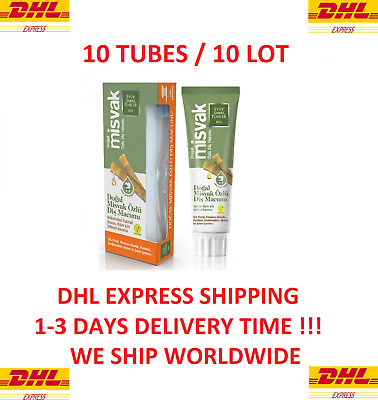 £53 • Buy 10 Tubes Natural Miswak Extract Toothpaste 75 Ml + 10 X Tootbrush (NEW)