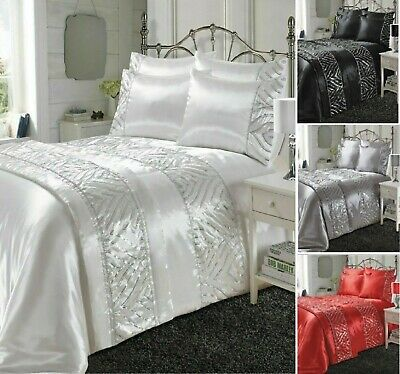 Luxurious SHIMMER Shiny Satin Silk Laces Duvet Covers Bedding Set Or Bed Runners • 19.99£