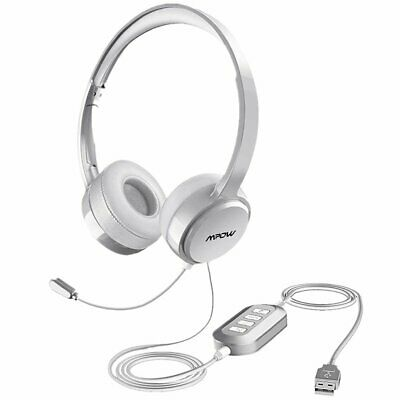 Mpow Noise Cancelling Mic 3.5mm USB Computer Headset Headphones For Skype Mac PC • 25.65£