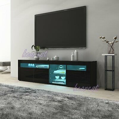High Gloss 3 Doors TV Stand Unit Cabinet With Glass Shelves Sideboard LED Light • 149.99£