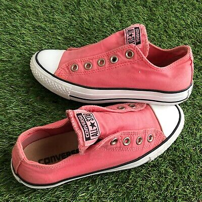 Converse Trainers Size 4 UK Pink Slip On Lacesless No Laces Used Shoes  • 13.99£