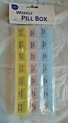 Weekly Pill Box Daily Medicine Organizer Tablet Dispenser 7 Days 21 Compartments • 2.99£