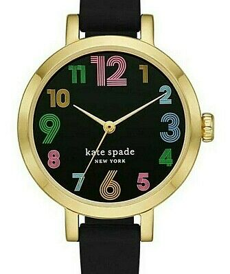 $ CDN94.42 • Buy Kate Spade  Metro Black Silicone Band & Face, Colored Numbers Watch Ksw1650nib