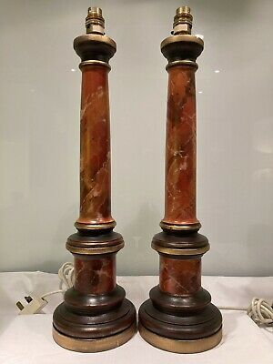 Pair Of Vintage Antique Style Faux Marble Wooden  Classical Column Table Lamps • 250£