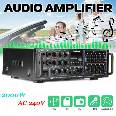 AU62.69 • Buy ❤ 2000W 240V 325BT Bluetooth Power Amplifier 2 Channel AMP Home Stereo SD FM  AU