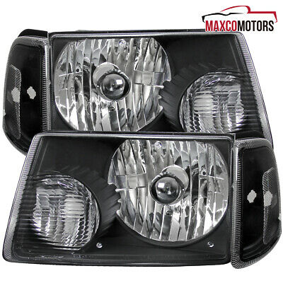 $68.59 • Buy Black For 2001-2011 Ford Ranger Headlights+Corner Turn Signal Parking Lamps Pair