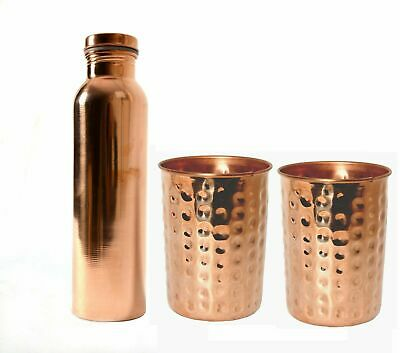 700 Ml Plain Copper Water Bottle & 2 Hammered Glass Ayurveda Based Free Radicals • 14.70£