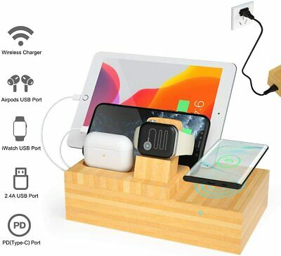 AU79.99 • Buy Bamboo Multi-Device Charging Dock Wireless Charger For Iwatch/iPhone/iPad/AirPod