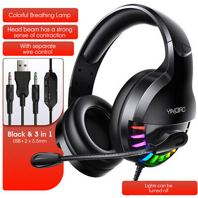 3.5mm Gaming Headset With Mic Headphones For PC Laptop PS4 Xbox One S X Switch • 14.75£