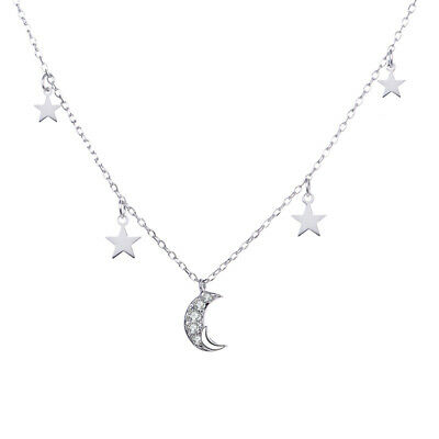 Crystal Moon&Star Pendant Necklace 925 Sterling Silver Women Jewelry Gift • 10.71£